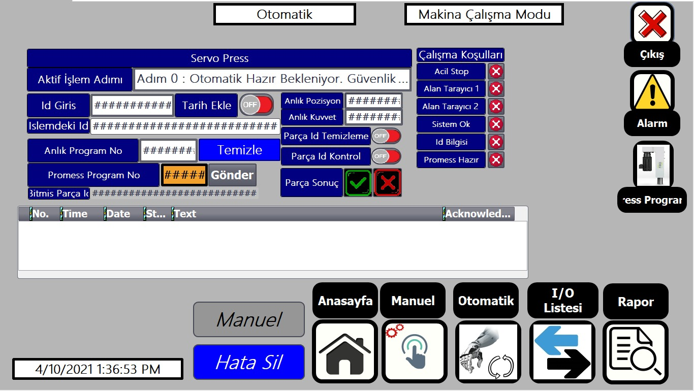 Pres Makinası İmalatı PLC Yazılımı